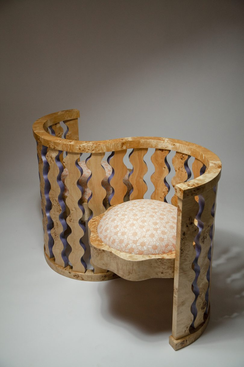 double armchair in wood and upholstery