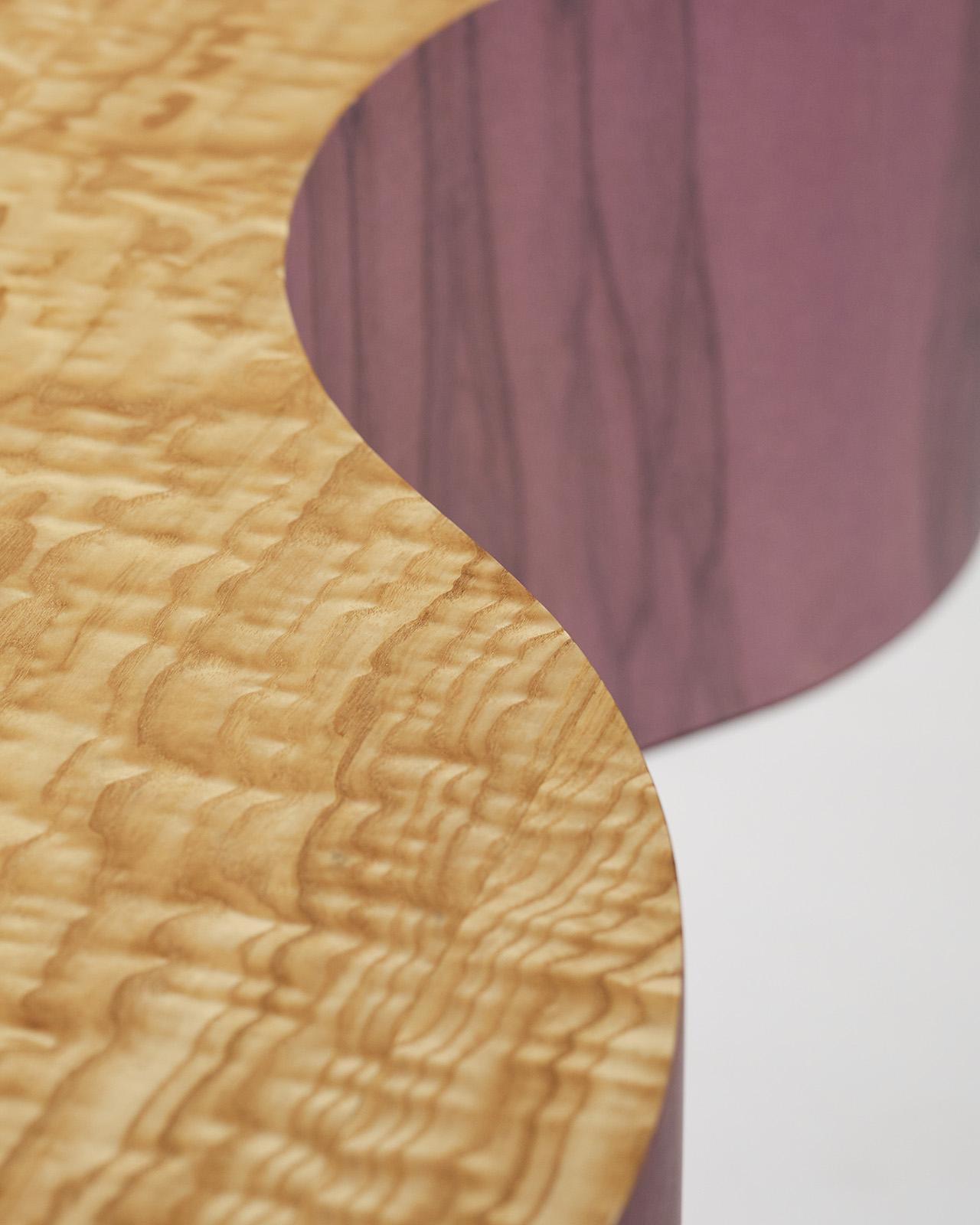 purple wood coffee table detail