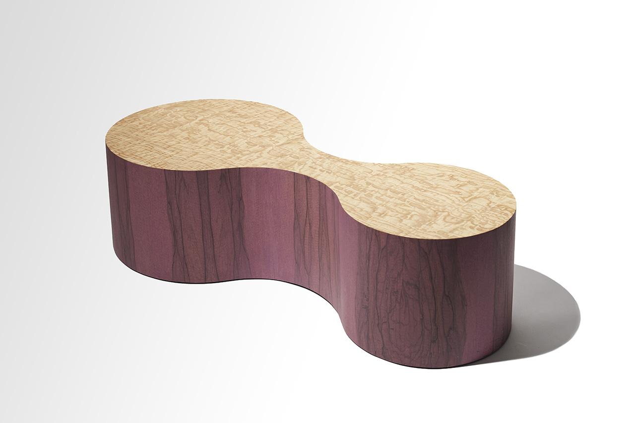 purple wood coffee table