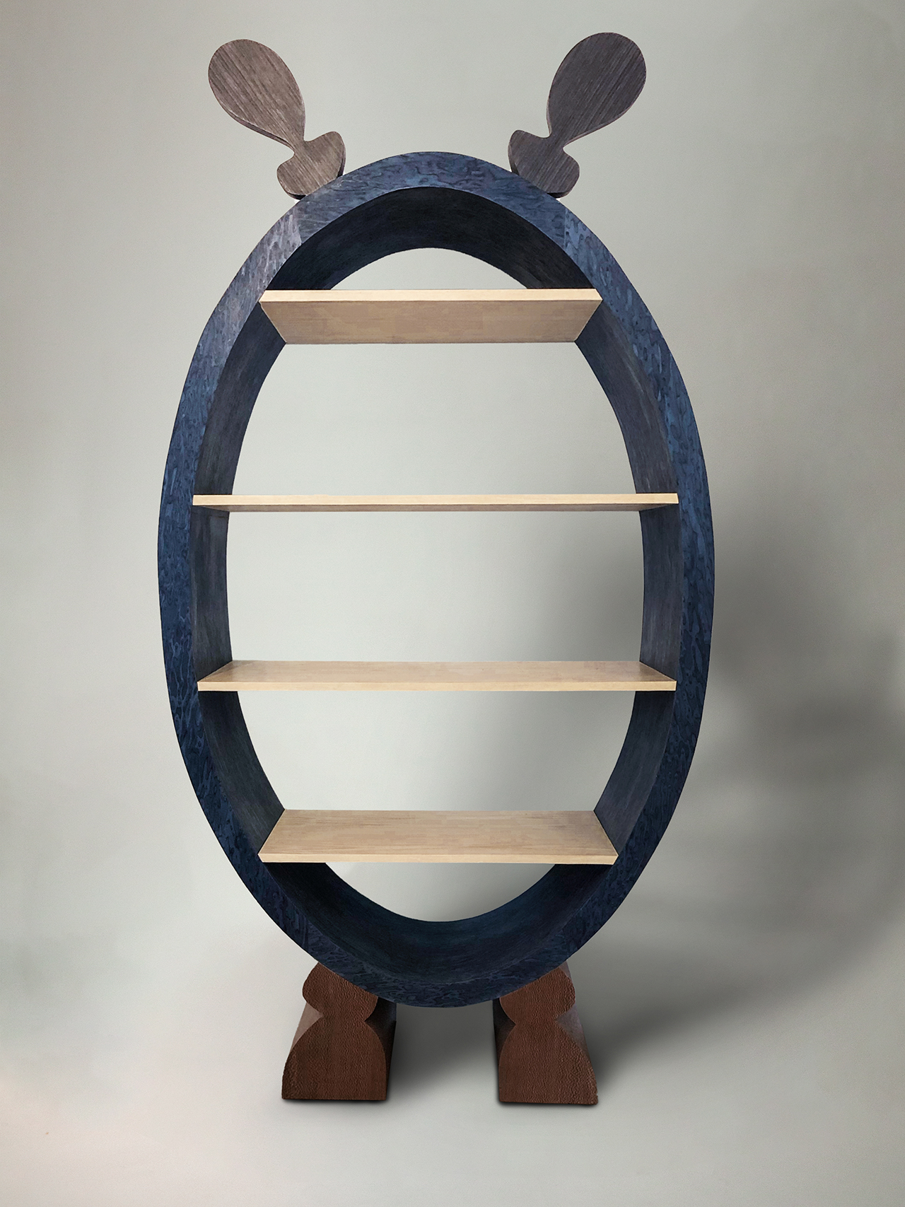oval shaped shelves in navy blue and light wood