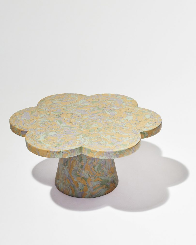 pastel marbled table with petal shaped top