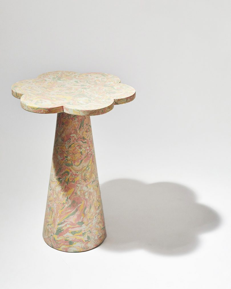 pastel marbled side table with petal shaped top