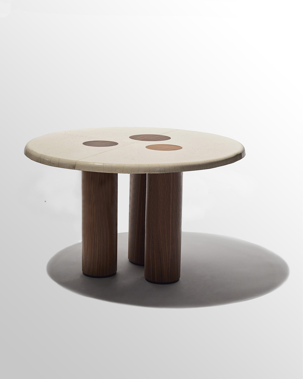 wooden table with cylindrical legs