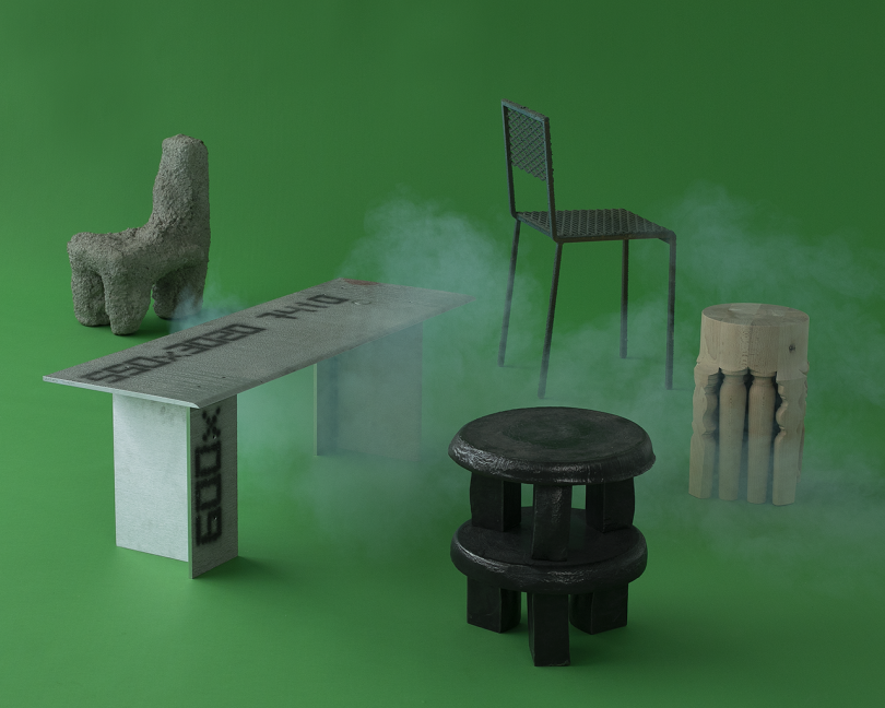 collection of furniture on green background with white smoke