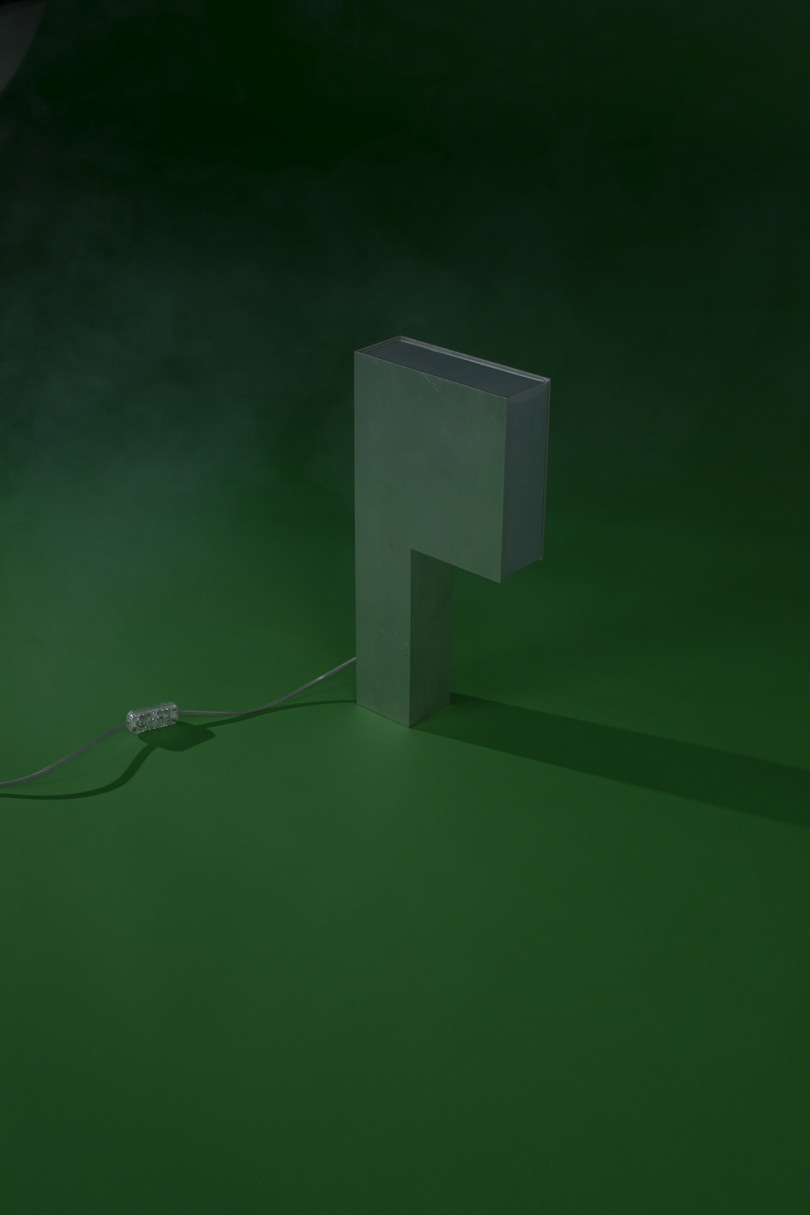 abstract lamp on dark green background