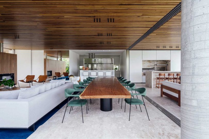 interior view of modern living space open to outside