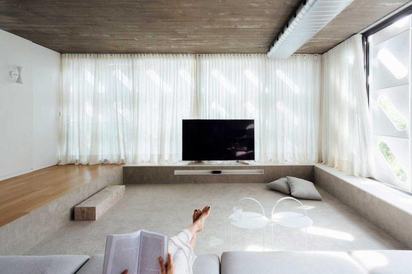 sunken living room in modern house
