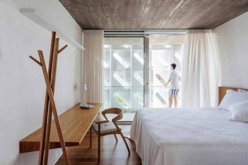 minimalist bedroom in modern house