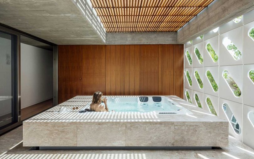 interior hot tub in modern house