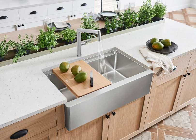 modern kitchen with stainless steel sink and white countertops with plants