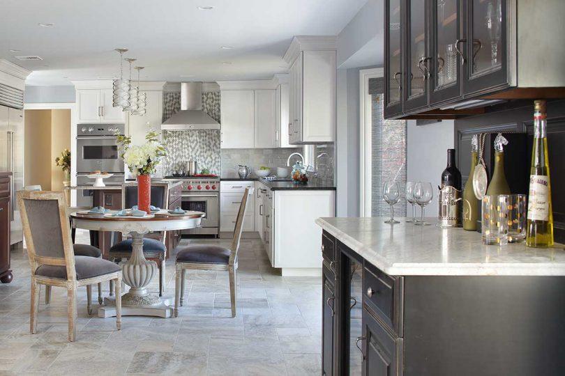 kitchen view with wine bar