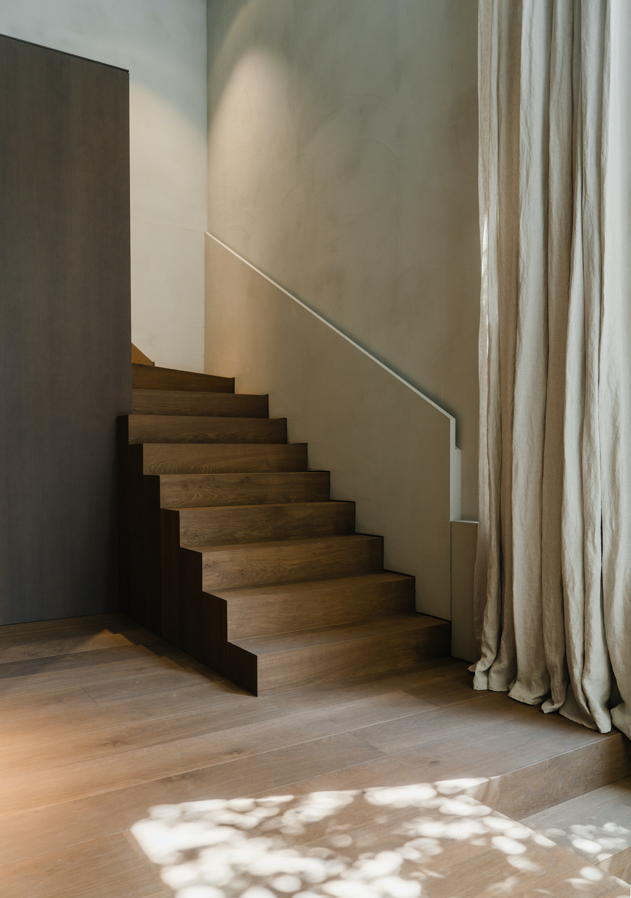 Staircase with curtain