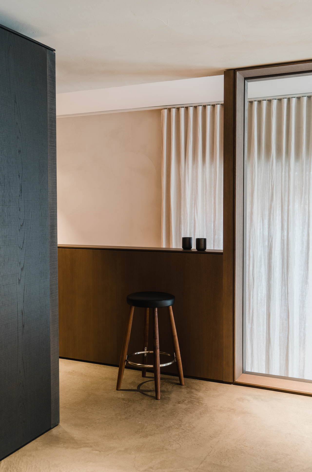Barstool with curtains