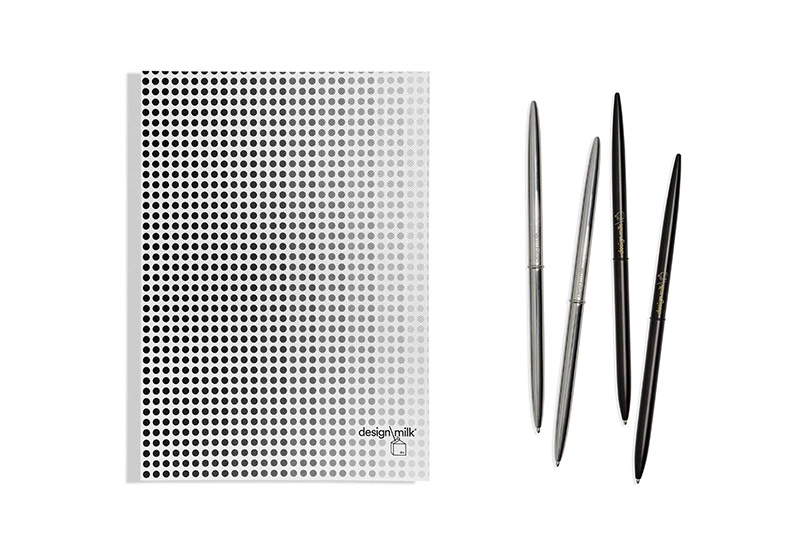 design milk 15th anniversary gradient dot concept planner and pen set stationary collection on a white background