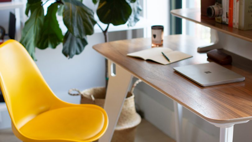 hoek home office desk from design milk shop, in a work from home setting