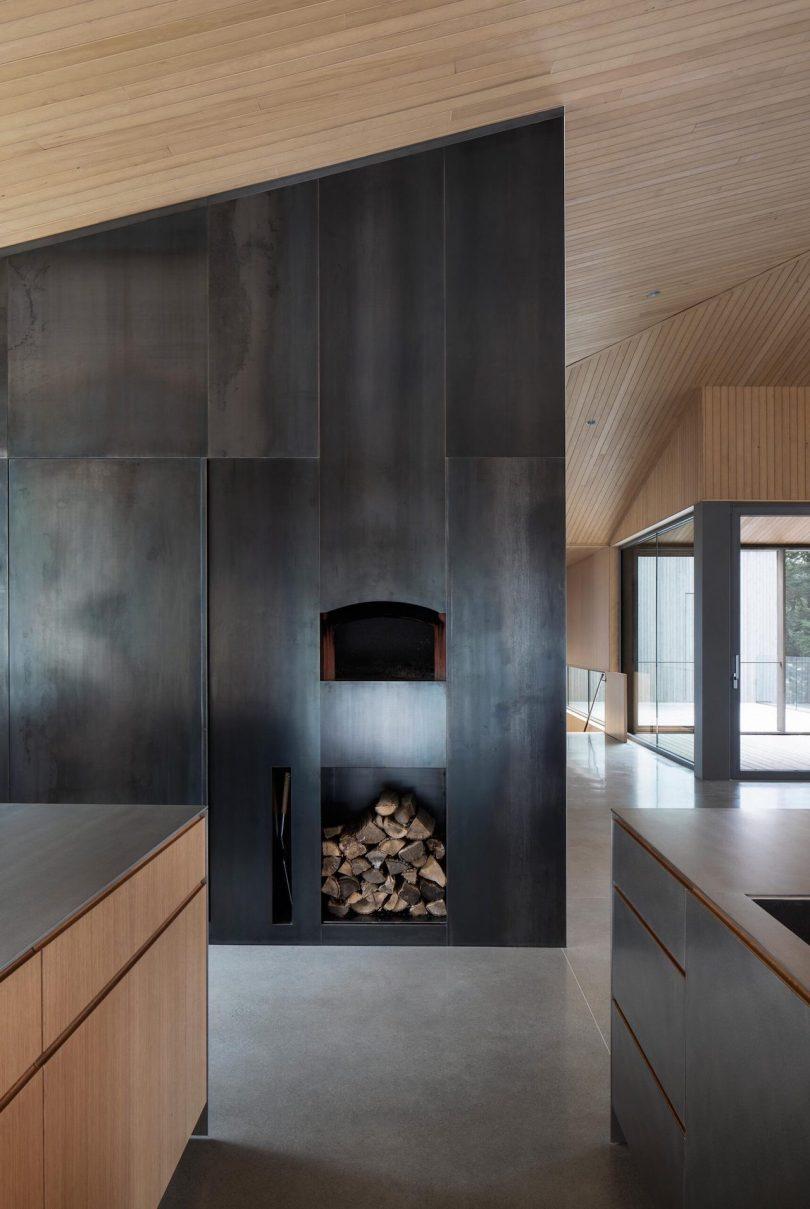 Wood storage area in kitchen