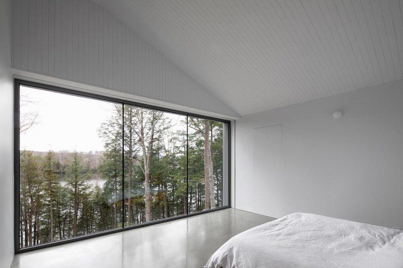 Interior bedroom with panoramic windows