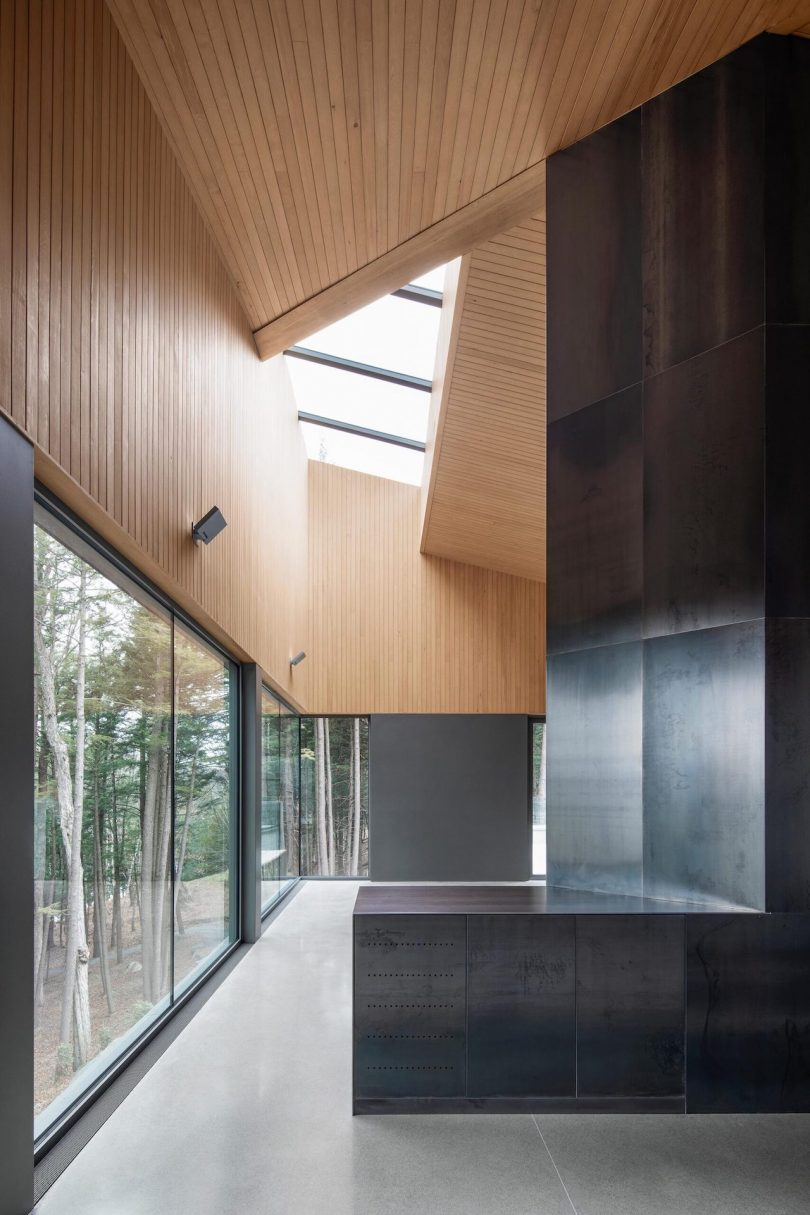 Interior shot with skylight in view