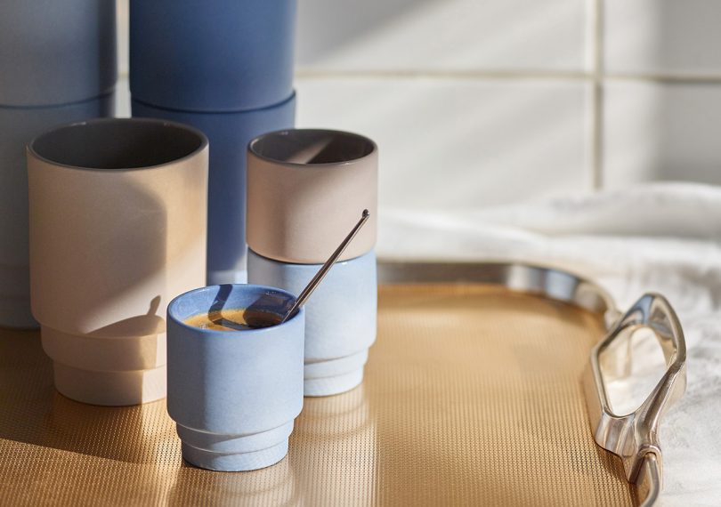 Monday Espresso Cups by Puik Design with espresso on a table tray
