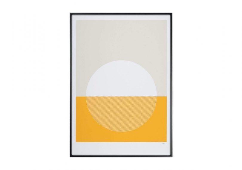 Tom Pigeon Cellardyke Screenprint in Yellow on a white background