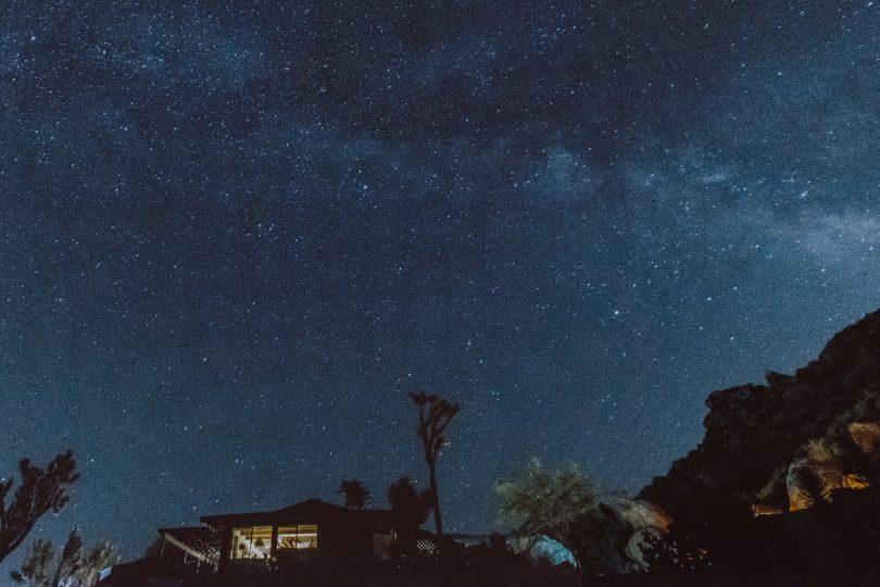 desert vacation house night