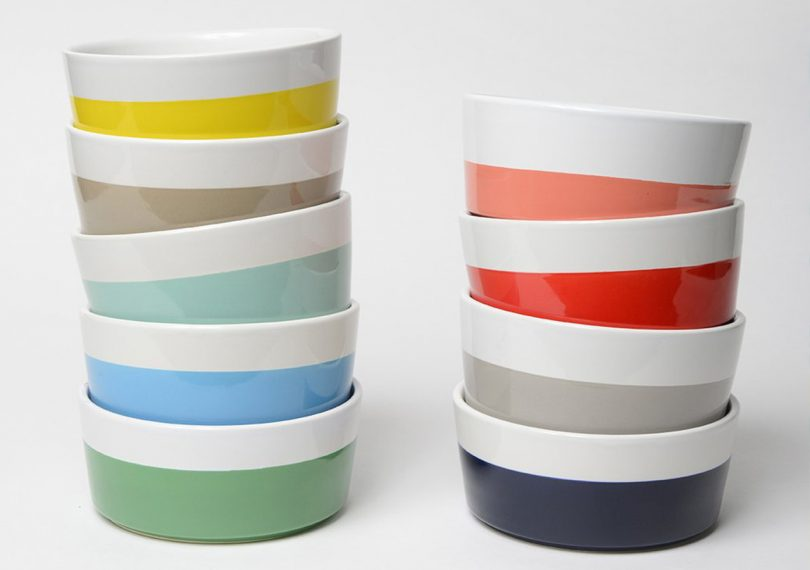 Waggo Dipper Ceramic dog bowls in stacks featuring different colors