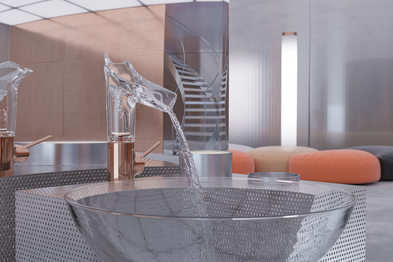 sculptural glass bathroom faucet turned on and flowing into a marble sink