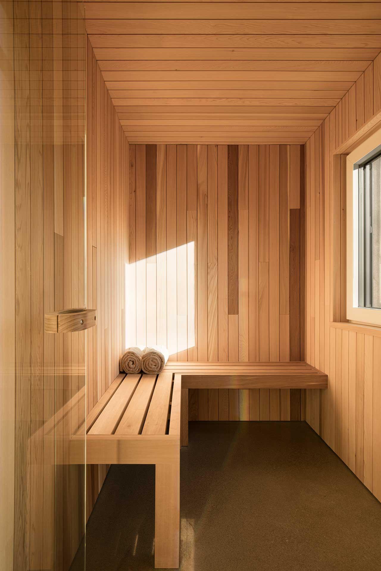 wood clad modern sauna