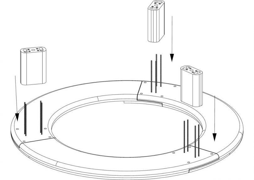 design drawing of circular bench