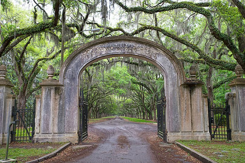 archway entrance into a park with large canopied trees