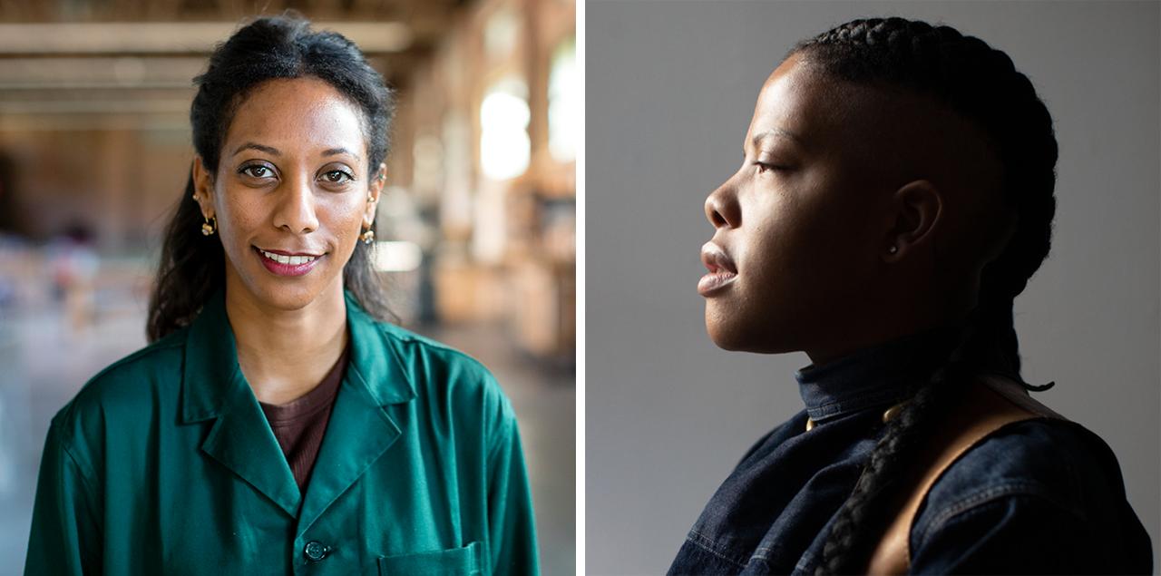 split image of two brown-skinned women