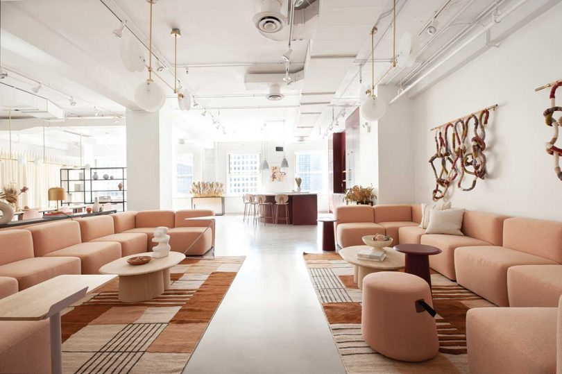 modern showroom featuring peach colored modular sectional sofas