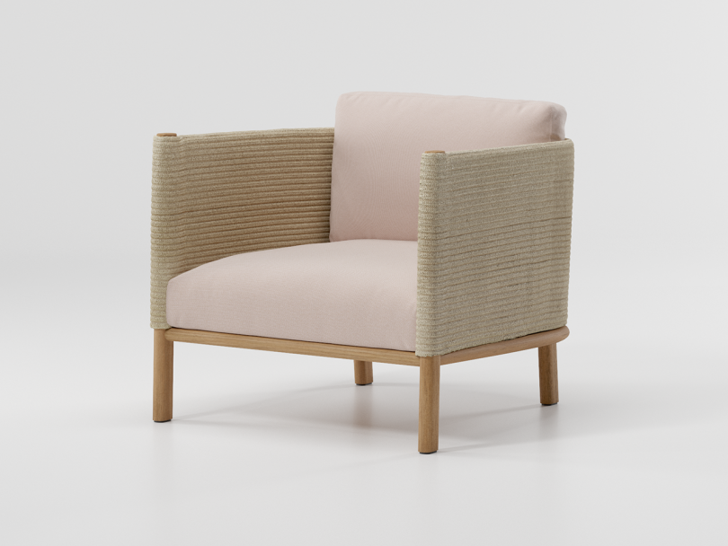 beige boxy outdoor armchair on white background