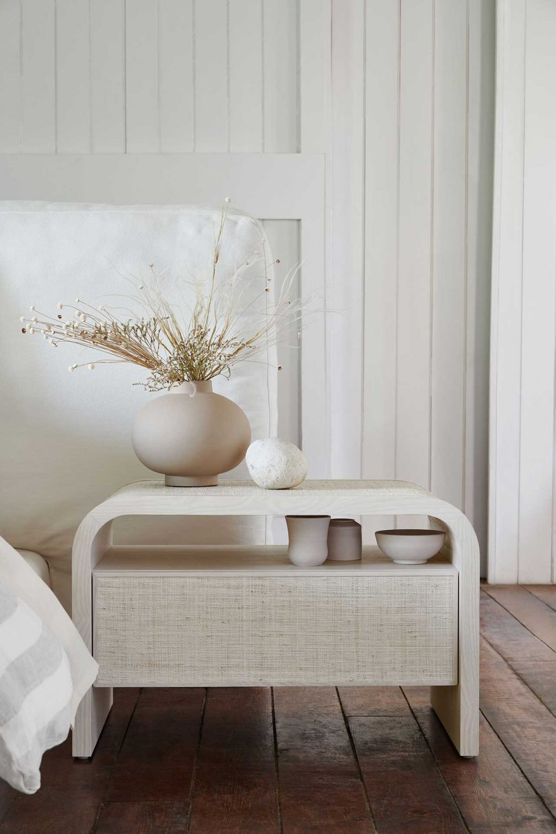 rounded white end table