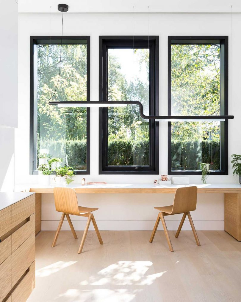 minimalist home office with desk under window