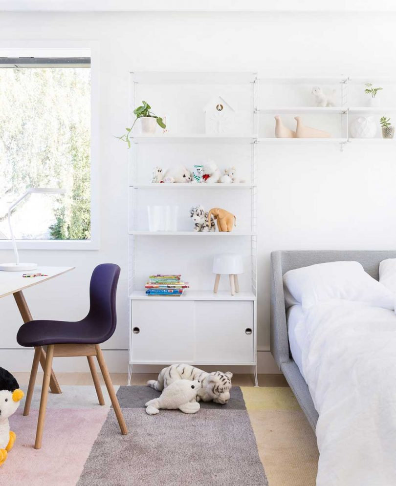 modern child's bedroom with white, black and gray decor