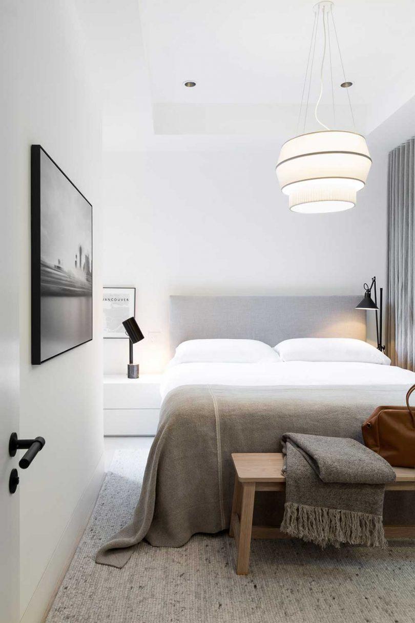 modern bedroom in neutral gray palette