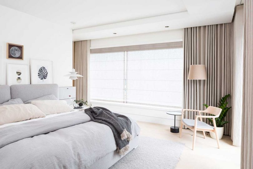 modern bedroom with neutral color palette