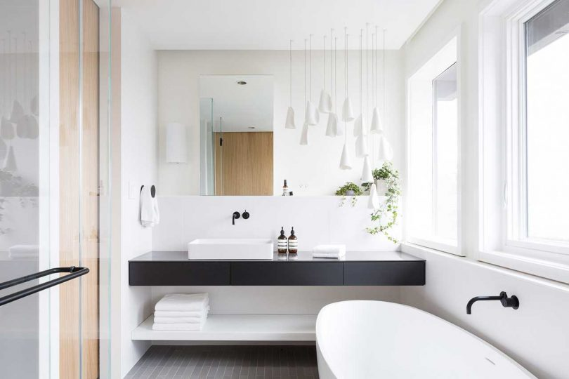 modern bathroom with classic black and white color scheme