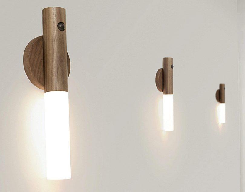 three Gingko Smart Baton lights illuminating a hallway