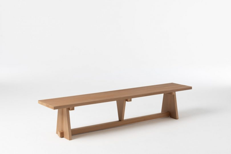 low wooden bench